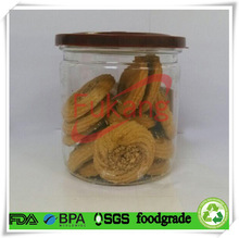 400ml clear PET plastic FDA food grade round container / cans packaging cookies with aluminum lid and plastic cover