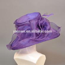 fancy elegant purpe flower rosette purple organza church hat for ladies