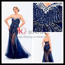 Latest Popular Fashion Design Elegant Blue Sweetheart Long Dress With Appliqued Beading Sexy Sleek Backless Wedding Dresses