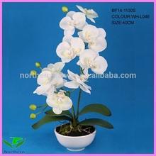 2014 novo design 40 cm atacado handmade flor artificial orquídeas brancas