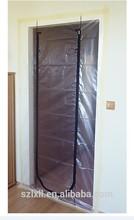 Plastic film protection and dust barrier zipper door