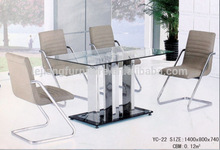 glass top dining table with stainless steel pedestal Home Design