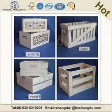 Cheap storage wooden crate with Laser engraving pattern for beer /fruit/egg