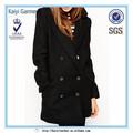 冬暖かい2014年ノッチ襟ボタン付きロングジャケットの女性のウールのコート
