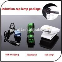 3 ultra led induction cap lamp USB rechargeable led sensor cap light and headlamp