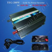 200W grid tie solar inverter, 12V/24V solar panels converter 200watts, dc 10.5-28V-ac 90-130V/190-260V