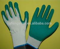 cheap white cotton liner green latex gloves