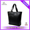 2014 china shopping PU blank black leather tote bag