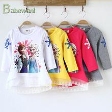 new design European and American style 100% cotton long sleeve kids T-shirt baby girl frozen t-shirt print t-shirt