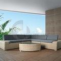 Conjuntos de muebles sofá Rattan para jardín / PE muebles de mimbre para sala de estar.
