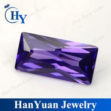 rectangle shape violet synthetic cz rough diamond