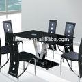 simple diseño de vidrio de acero inoxidable parte superior en forma de v patas de mesa de comedor