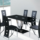Simple design glass top stainless V shaped legs dining table
