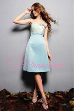 bridesmaid dress cheap blue party dress knee length wedding dress made in china