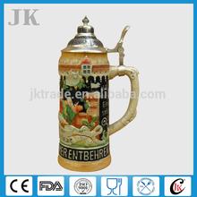 2014 cheap handpainted ceramic 1 liter beer mug with lid