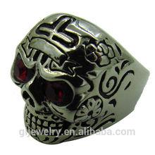 2014 new design Unique color Eye Tribal Mens Biker Skull Ring