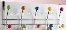 Metal wire over door towel /clothes hook hanger w/plastic ball