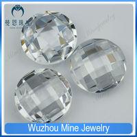 6.00mm Wuzhou round shaped double turtle white CZ loose stone
