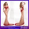 2014 Turkish Evening Dress Mermaid Scoop Neck Sheet Top Back Flower Crystal Beaded Chapel Train Satin Long Evening Dress(ED163)
