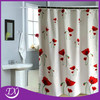 Popular Shower Curtain With Printing Red Flower In Bathroom