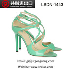 new model latest design fashion elegant sexy sweet cross strap/strip patent leather/pu stiletto peep toe lady high heel sandals