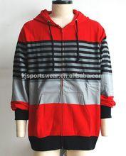 European design man's stripe print zipper up hoodie sweatshirt, models jackets for men