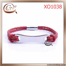 fashion men stainless steel leather bracelet jewelry