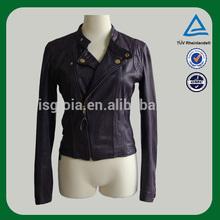 2014 kadın ucuz İtalyan deri ceket klasik siyah renk