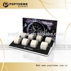 POP GUANGZHOU trade 8pcs wooden watch display,with PU pillow watch display stand