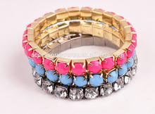 gold jewelry with big rhinestone l set bracelets