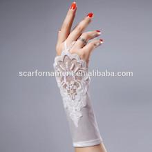 Kids&women's Latest Satin Two Bows Wrist Length Wedding Dress Glove Embroider Pearl Beaded/ Ruffles Fingerless Bridal Gloves