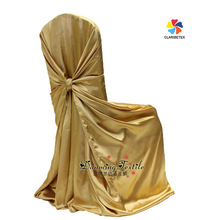Factory Wholesale Luxury Self-tie Wedding Satin Chair Cover, Universal Satin Banquet Seat Cover