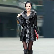 HFR-R-450 Women fur fashion 2014 autumn new design genuine mink and fox fur long coat