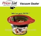 "4"" PressLid Pet Lid dog food plastic leak proof vacuum sealer for pets"