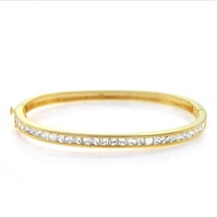 Most Popular Gold Bnagle Channel Setting Elegant Bracelet