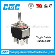 KN3(B)-202P 6 PC terminals dpdt on on on off on 6a 250vac toggle switch