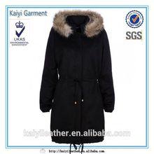 detachable hood faux fur trim black women long winter parka jacket