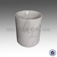 Carrara white marble candle holder, white stone pen holder