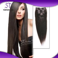 Natural color 30 inch fashion design cheap 100% human hair clip in hair extension for european or american ladies