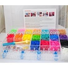 28 grid box 22 colors/set 3000PCS crazy loom bands wholesale DIY TPR Rainbow Bracelet Making Kit