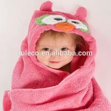 Hot Pink Baby Girl Owl Terry Embossed Hooded Cartoon Bath Towel