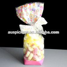 Cheese Cake Square Bottom Cellophane Bag Opp Glued Bottom Bag,