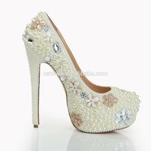 Super Luxurious Pearl Bridal High Heel Wedding Shoes Platform Wedges Shoes Pretty Custom Handmade 16cm Heel Shoes