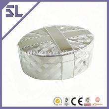 bem feito cesta oval estampados de metal presente da jóia trinket caixa de espelho de vidro caixa de jóias