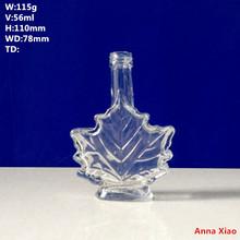 2014 Maple Leaf Shape Glass Bottles For Vodka