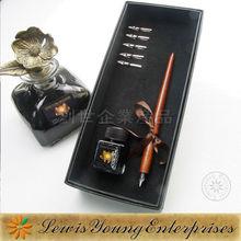 Primitive handmade wooden pen set,wooden dip pen