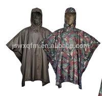 campuflage nylon pu waterproof poncho polyester rain cape