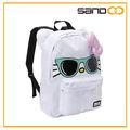 Lindo 2014 mochilas escolares para las niñas adolescentes, hello kitty de menta gafas de sol de la cara mochila