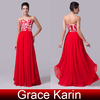 Grace Karin Newest Red Evening Dress 2015 Nice Design Women's Special Occasion Chiffon Floor Length Dresses CL6175