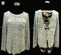 2015 moda sequin senhoras camisola meninas, long- manga gola redonda laço bowknot pullover